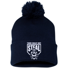 Thou Shalt Not Steal pom pom knit cap from Who's On First navy