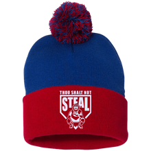 Thou Shalt Not Steal pom pom knit cap from Who's On First royal and red