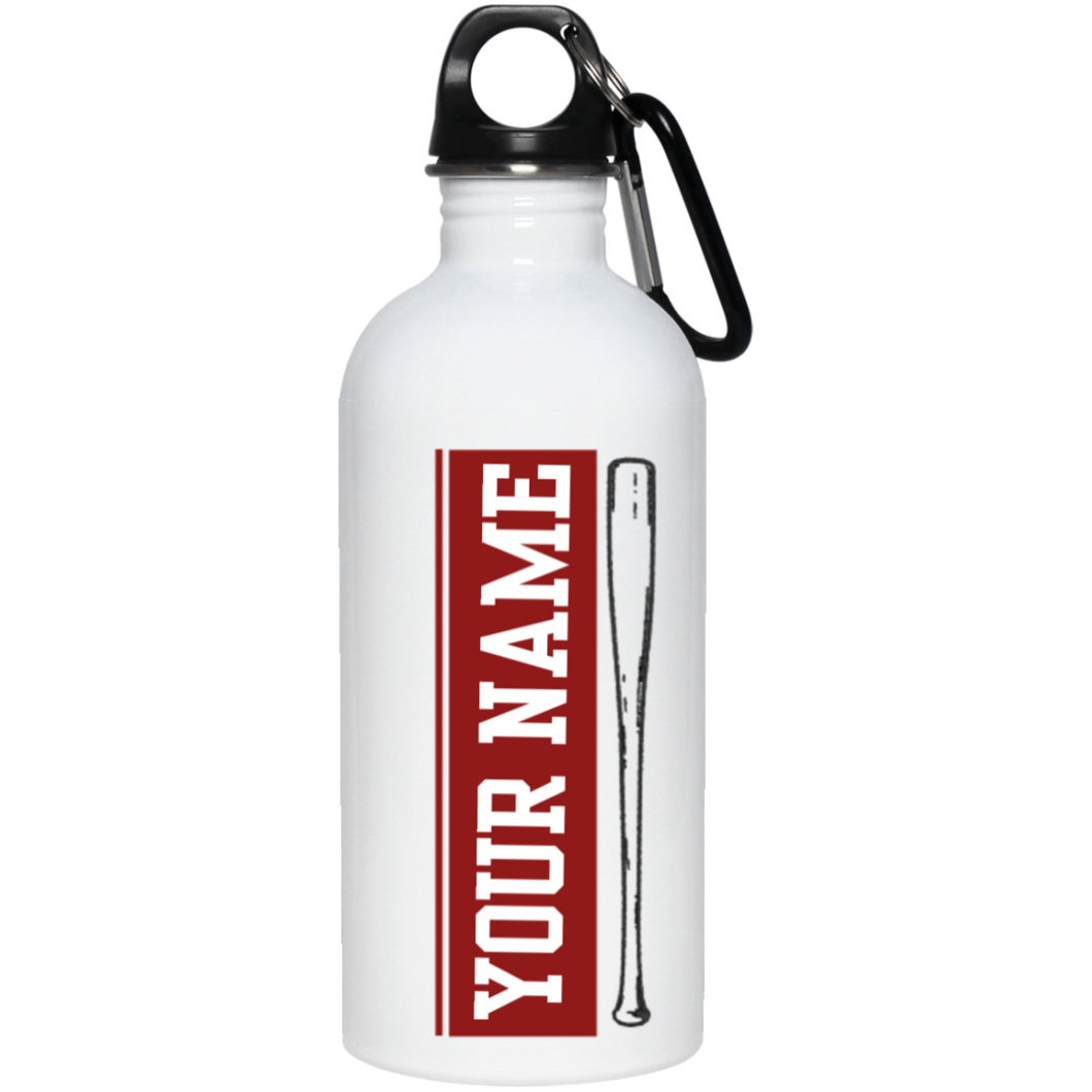who's on first batter up stainless steel water bottle 20 oz personalized with your name maroon