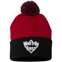 who's on first pom pom knit cap logo embroidered on front