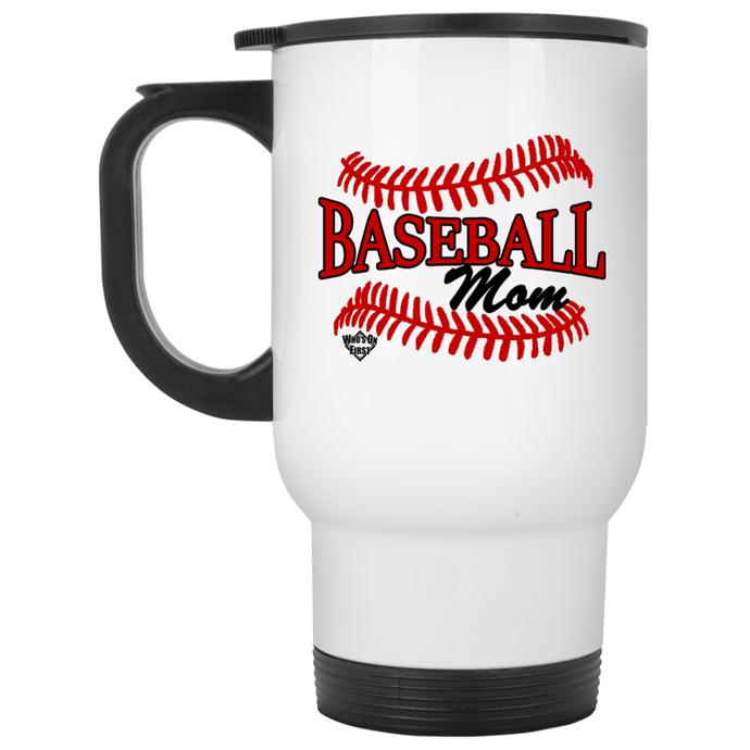 who's on first baseball mom travel mug white