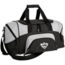 who's on first embroidered daily sports bag duffel black grey