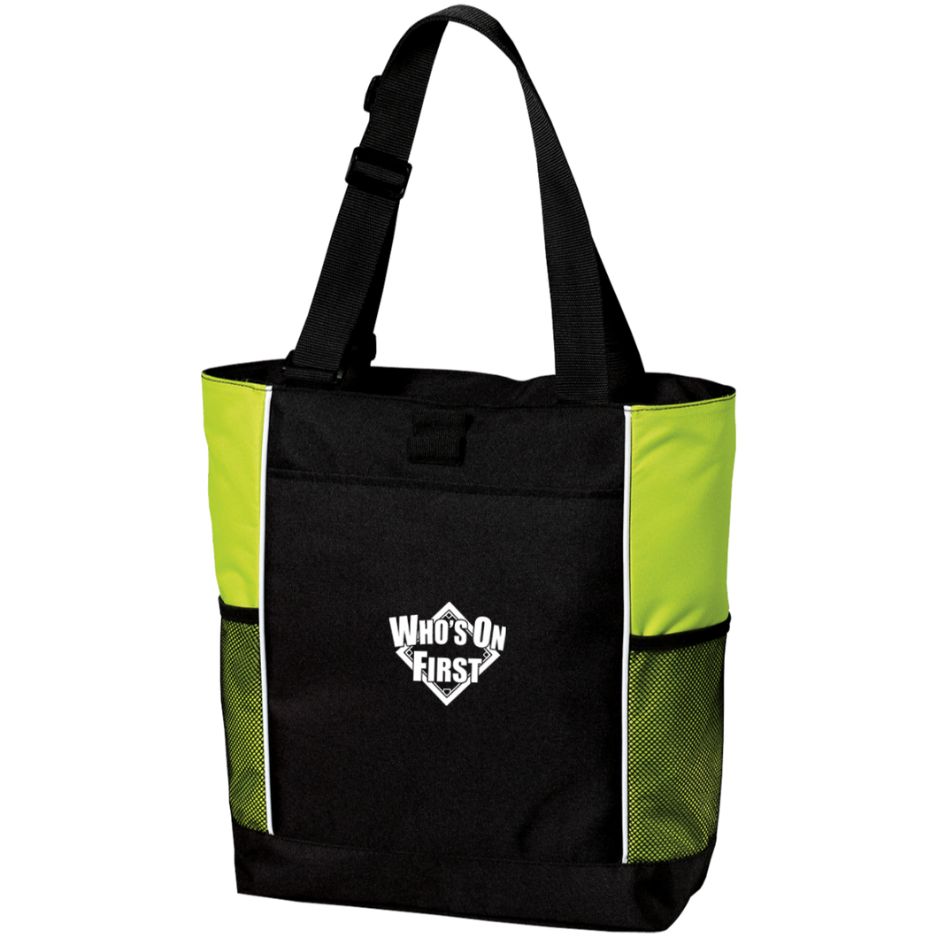 who's on first embroidered color blocked zippered tote black lime