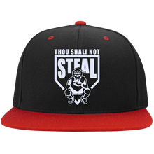 Thou Shalt Not Steal flat bill snapback hat from Who's On First black and red