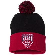 Thou Shalt Not Steal pom pom knit cap from Who's On First black and red