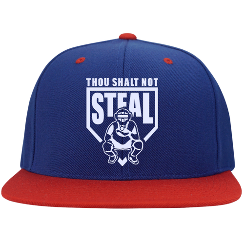 Thou Shalt Not Steal flat bill snapback hat from Who's On First royal and red