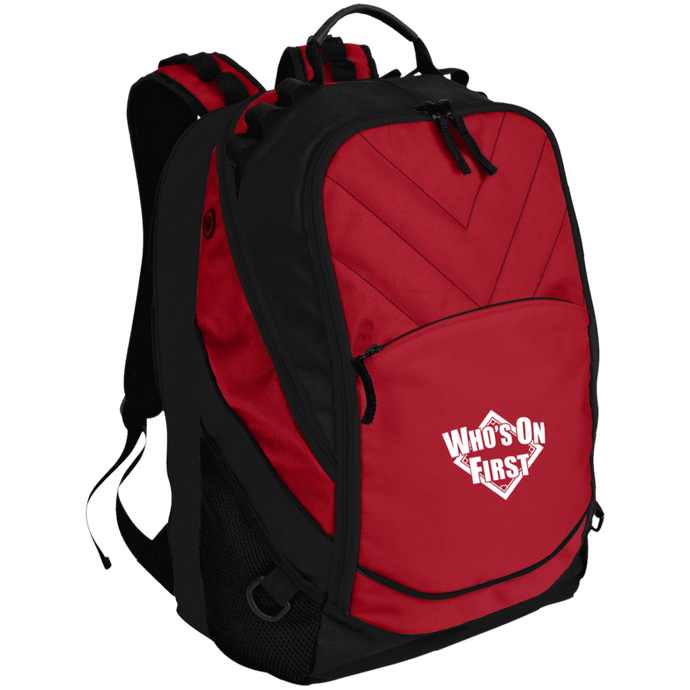 who's on first embroidered laptop computer backpack red