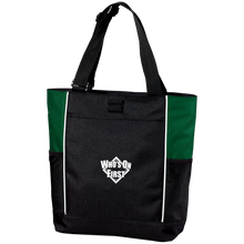 who's on first embroidered color blocked zippered tote black hunter green