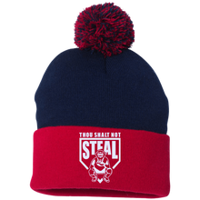 Thou Shalt Not Steal pom pom knit cap from Who's On First navy and red