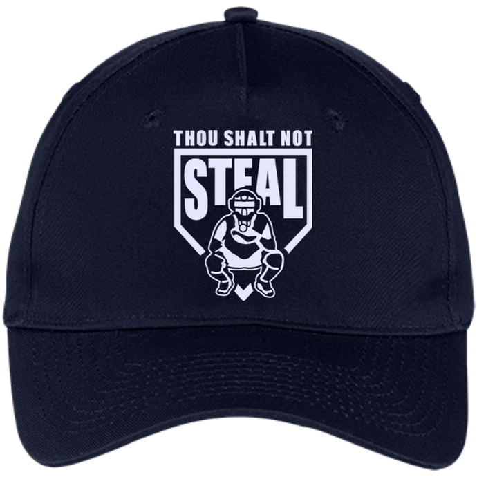 Thou Shalt Not Steal 5 panel twill cap from Who's On First navy