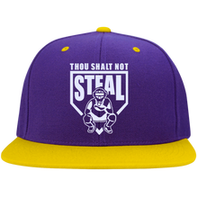 Thou Shalt Not Steal flat bill snapback hat from Who's On First purple and gold