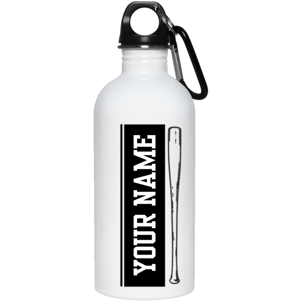 who's on first batter up stainless steel water bottle 20 oz personalized with your name black