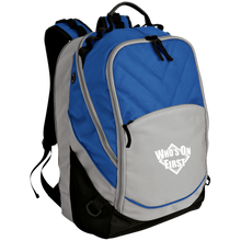 who's on first embroidered laptop computer backpack grey royal