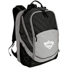 who's on first embroidered laptop computer backpack grey black