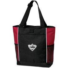 who's on first embroidered color blocked zippered tote black red