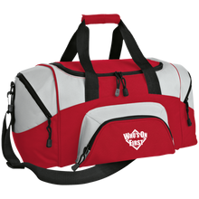 who's on first embroidered daily sports bag duffel red grey