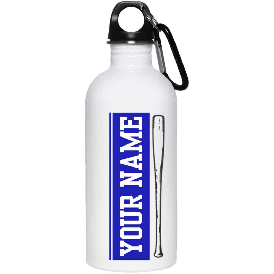 who's on first batter up stainless steel water bottle 20 oz personalized with your name blue
