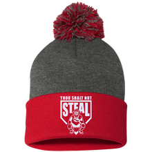 Thou Shalt Not Steal pom pom knit cap from Who's On First heather and red