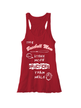 Who's on first baseball mom attends more practices than meals flowy racerback tank red