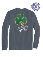 who's on first baseball shamrock long sleeve shirt asphalt