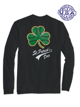 who's on first baseball shamrock long sleeve shirt black