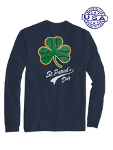 who's on first baseball shamrock long sleeve shirt navy