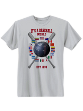 who's on first baseball around the world youth t-shirt white