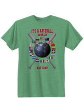 who's on first baseball around the world youth t-shirt green
