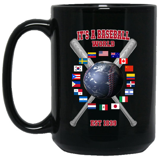 who's on first baseball world 15oz coffee mug black