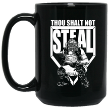 who's on first thou shalt not steal 15oz large mug black front