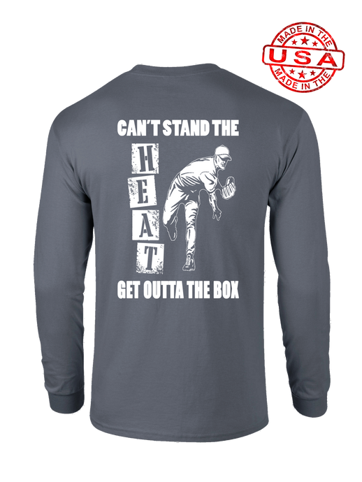 who's on first can't stand the heat long sleeve shirt asphalt