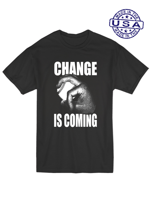 who's on first unisex t-shirt made in usa change is coming black