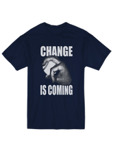who's on first change is coming youth t-shirt navy