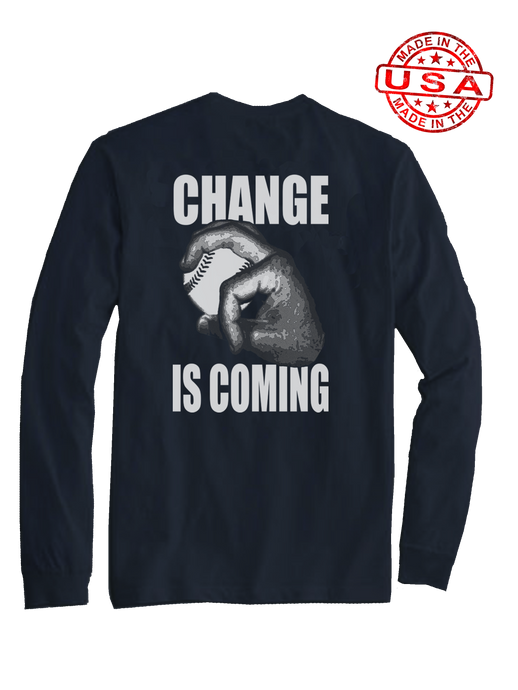 who's on first change is coming long sleeve shirt navy