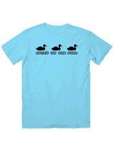who's on first, ducks on the pond, t-shirt, turquoise
