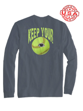 who's on first keep your eye on the softball long sleeve shirt asphalt