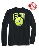 who's on first keep your eye on the soft ball long sleeve shirt black