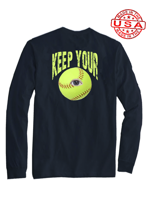 who's on first keep your eye on the soft ball long sleeve shirt navy