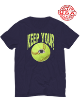 who's on first unisex t-shirt made in usa keep your eye on the ball navy