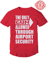who's on first, the only gun lefty allowed unisex t-shirt made in the usa red