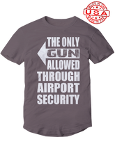 who's on first, the only gun allowed unisex t-shirt made in the usa asphalt