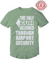 who's on first, the only gun allowed unisex t-shirt made in the usa leaf