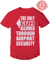 who's on first, the only gun allowed unisex t-shirt made in the usa red