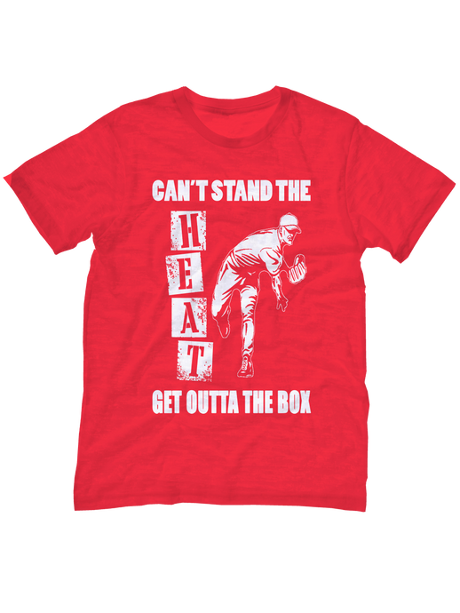 Official Who's On First baseball t-shirt can't stand the heat get outta the box youth red