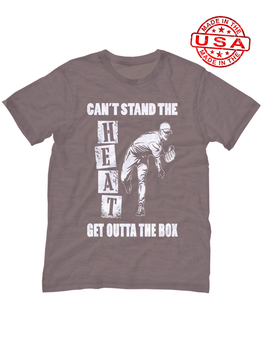 who's on first unisex t-shirt made in usa can't stand the heat get outta the box asphalt