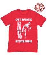 who's on first unisex t-shirt made in usa can't stand the heat get outta the box red