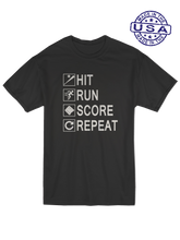who's on first unisex t-shirt made in usa hit run score repeat black