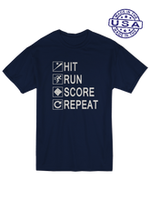 who's on first unisex t-shirt made in usa hit run score repeat navy