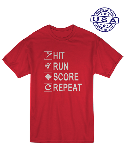 who's on first unisex t-shirt made in usa hit run score repeat red