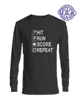 who's on first hit run score repeat long sleeve black
